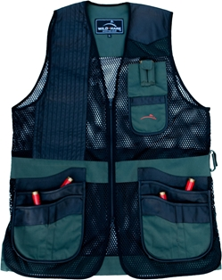 New! Wild Hare Range Vest Leather and Mesh -- Hunter Green and Black mesh shooting vest, heatwave, trap, skeet, sporting clays vest, leather trap vest, leather shooting vest, wild hare vest, wild hare shooting gear