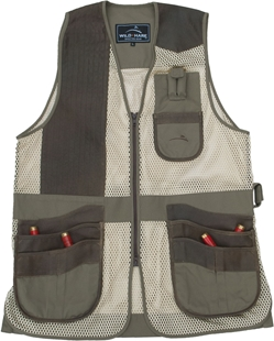 New! Wild Hare Range Vest Leather and Mesh  -- Sage and Brown mesh shooting vest, heatwave, trap, skeet, sporting clays vest, leather trap vest, leather shooting vest, wild hare vest, wild hare shooting gear