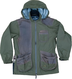 Wild Hare Hydro-Elite Waterproof Shooting Jacket - Olive with Brown Distressed Leather