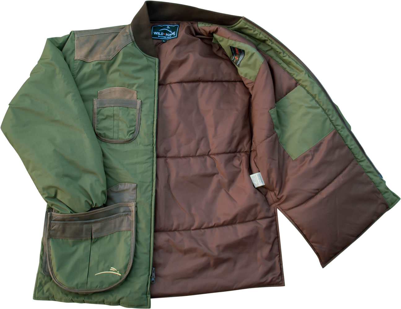 5500cda5271f3 ... Wild Hare Cold Weather Coat -- Olive with Brown Distressed Leather -  WH-480L